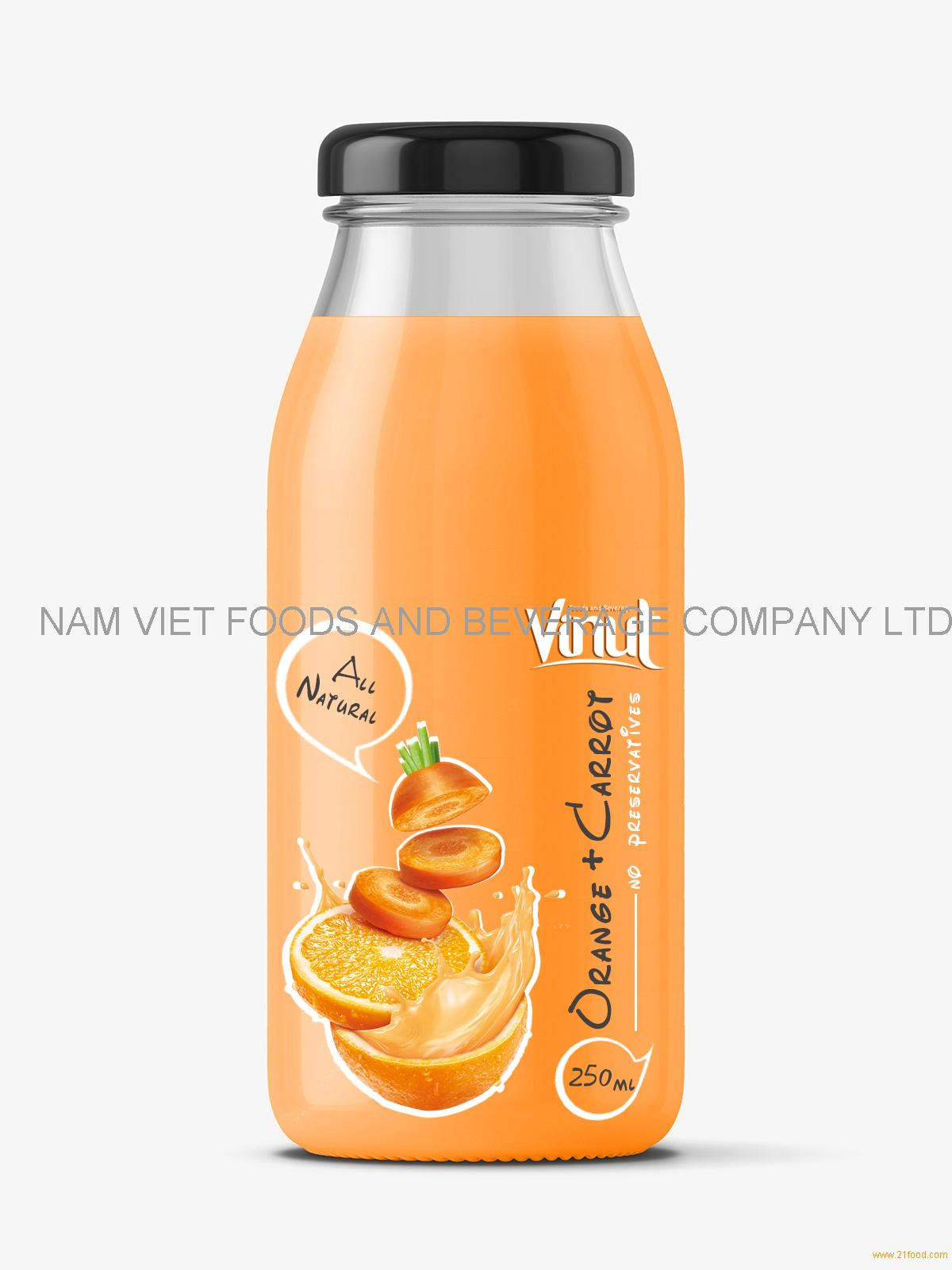 Fruit Juice drink with Orange and Carrot juice 250ml Glass botle
