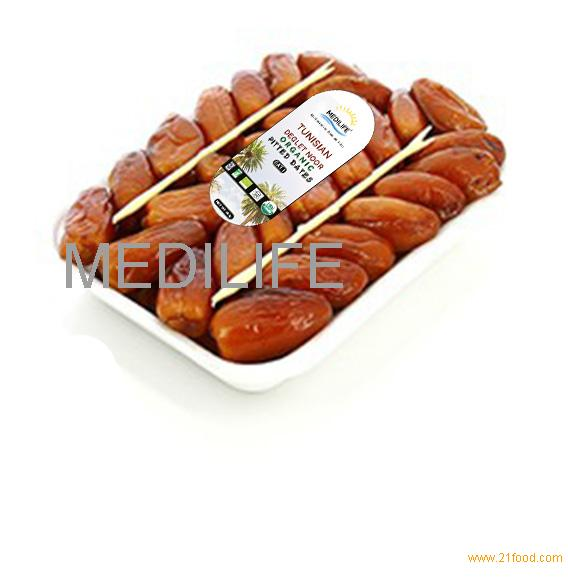Organic Pitted Dates 400gr Tray, Seedless Organic Dates