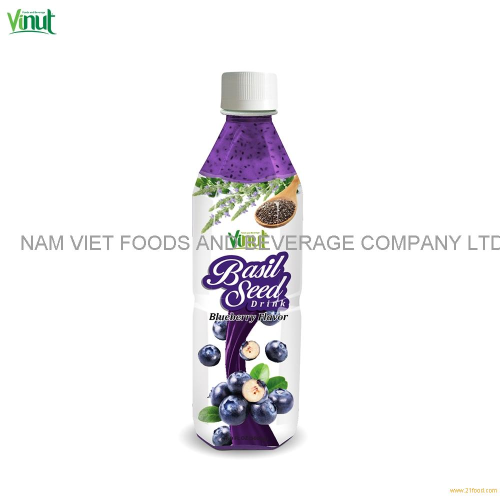 500ml VINUT Bottle Basil seed drink with Blueberry flavour Lemon Basil Seed