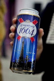 Kronenbourg 1664 blanc beer in blue 25cl and 33cl bottles and 50cl Cans