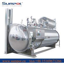 Vertical door autoclave for canned tuna fish