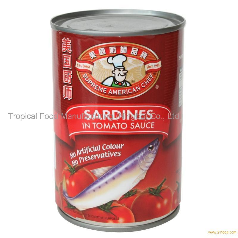 Canned Sardines In Tomato Sauce Brine 425gx24 Chinese