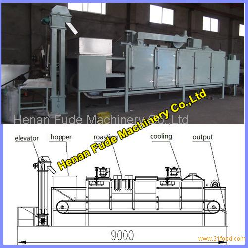 High quality peanut almond baking machine 500kg/h, beans nuts roasting equipment, fish shrimp drying