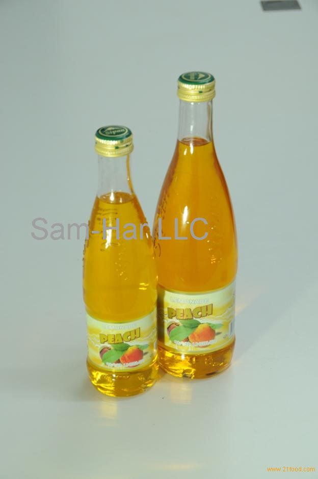 Peach Carbonated Drink in Glass Bottles