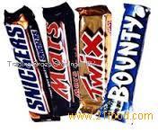 Mars, snickers, twix, kit kat, bounty chocolates