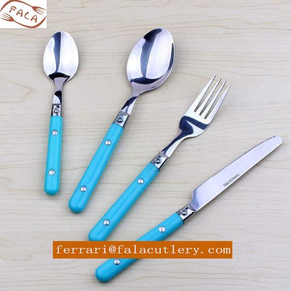 Elegant Design Party Wedding Bule Plastic Handle Cutlery Flatware