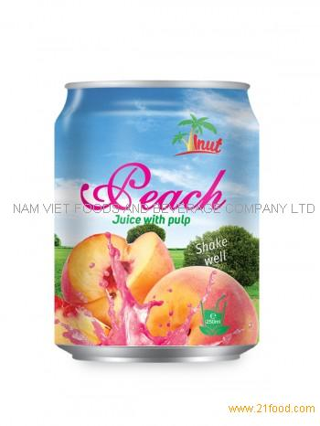 250ml Short Can Peach Juice With Pulp