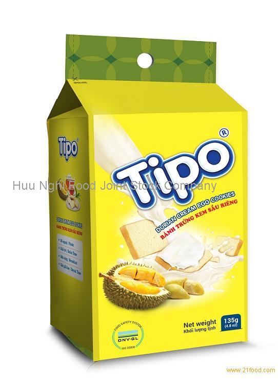 Halal, ISO Durian Cream Egg Cookies 135g from Vietnam Binh
