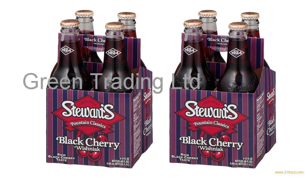 STEWART'S BLACK CHERRY WISHNIAK SODA DRINK IN CANS AND BOTTLES