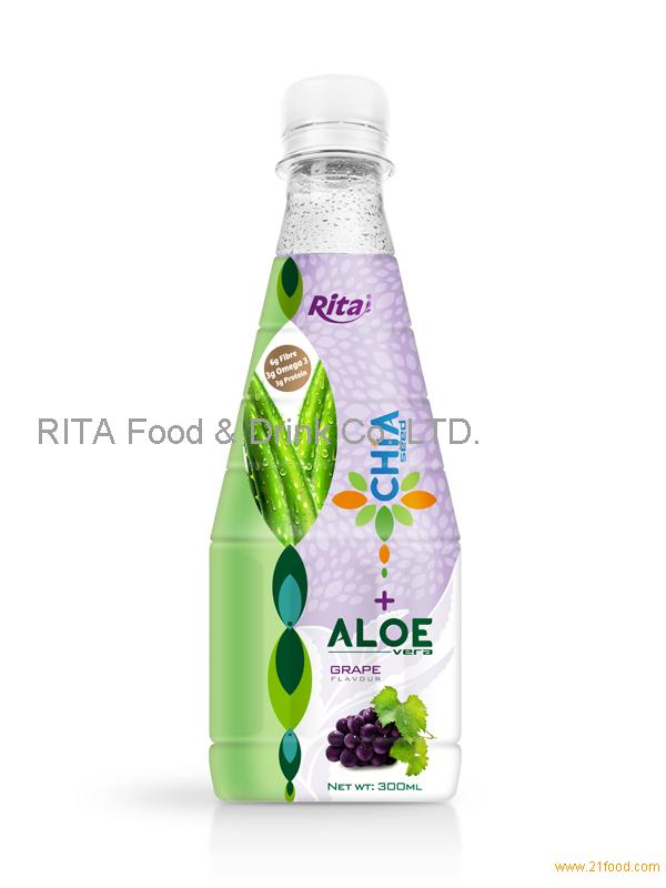 300ml Pet bottle Grape flavor Chia Seed with Aloe Vera Drink