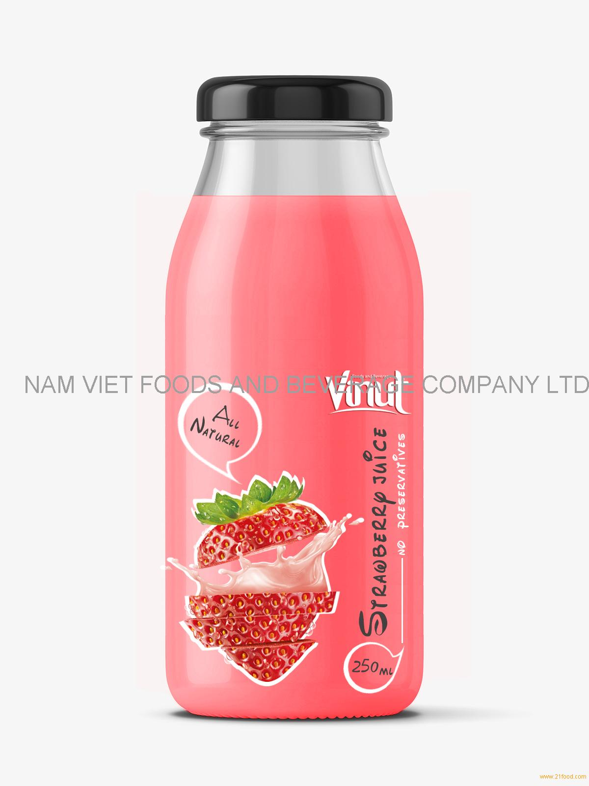 Fruit Juice drink with Strawberry juice 250ml Glass botle