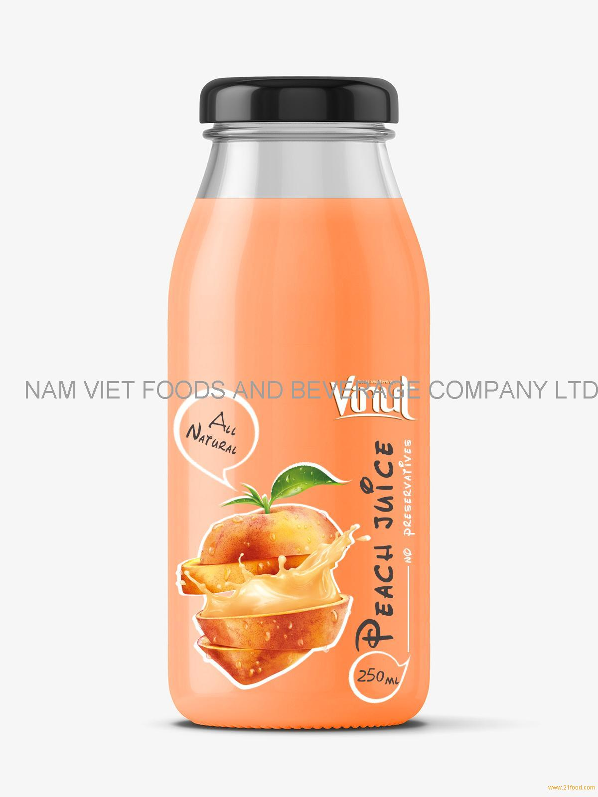 Fruit Juice drink with Peach juice 250ml Glass botle