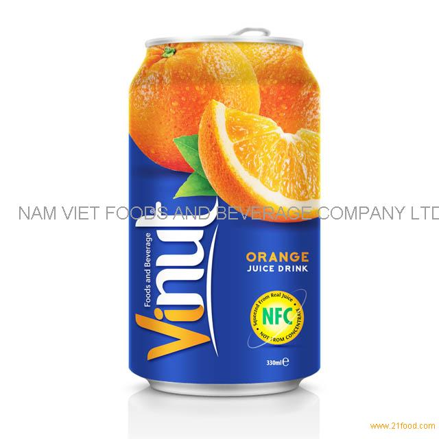 330ml Canned Fruit Juice Orange Juice Drink Wholesale