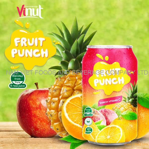 330ml Canned Fruit Punch Juice Drink
