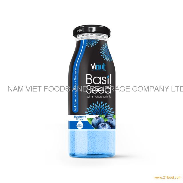 200ml Glass Bottle Basil seed with Blueberry flavor