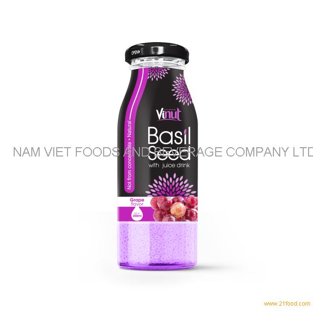 200ml Glass Bottle Basil seed with Grape flavor
