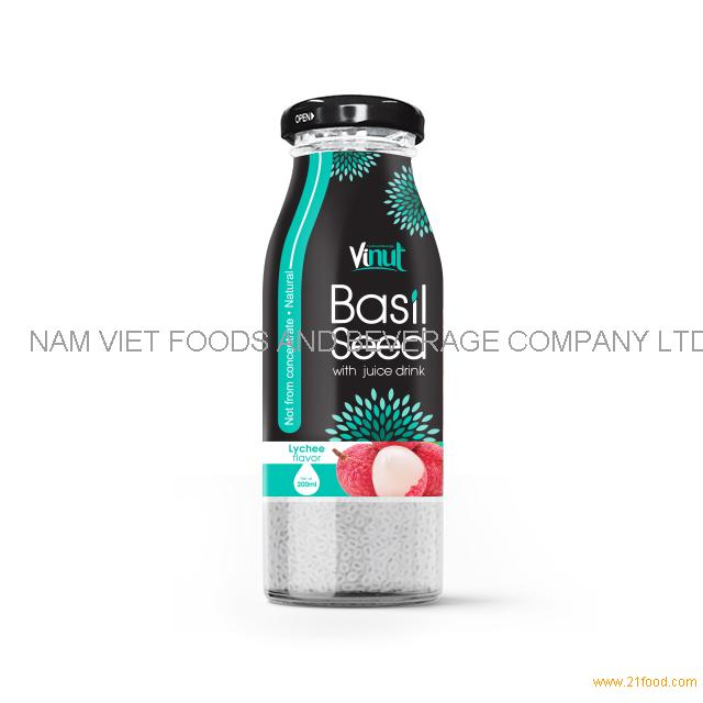 200ml Glass Bottle Basil seed with Lychee flavor