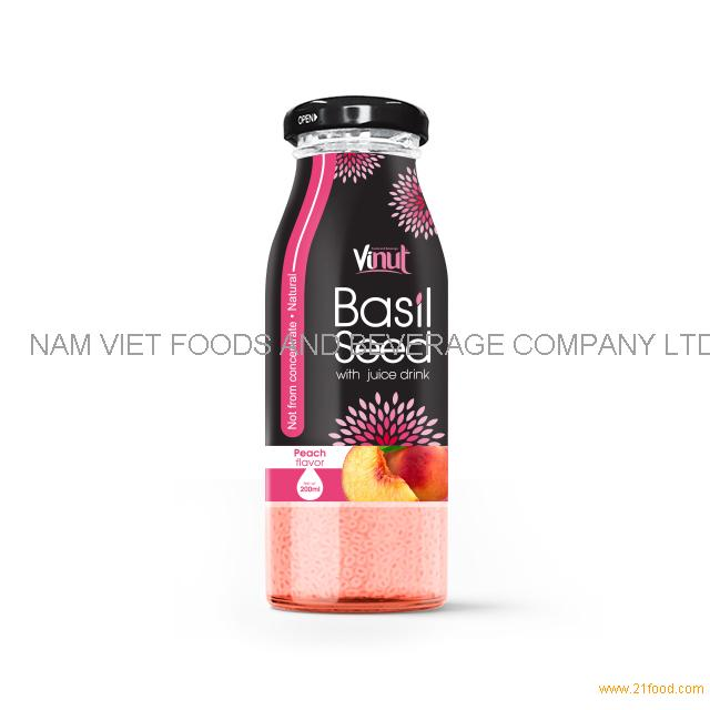 200ml Glass Bottle Basil seed with Peach flavor