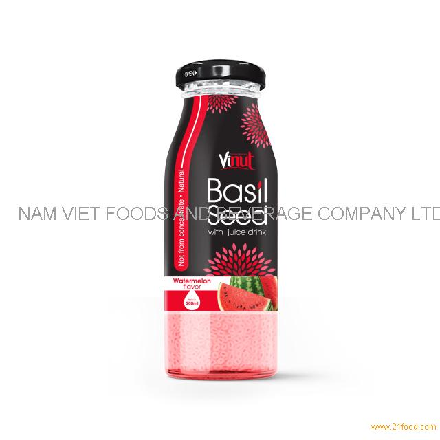 200ml Glass Bottle Basil seed with watermelon flavor