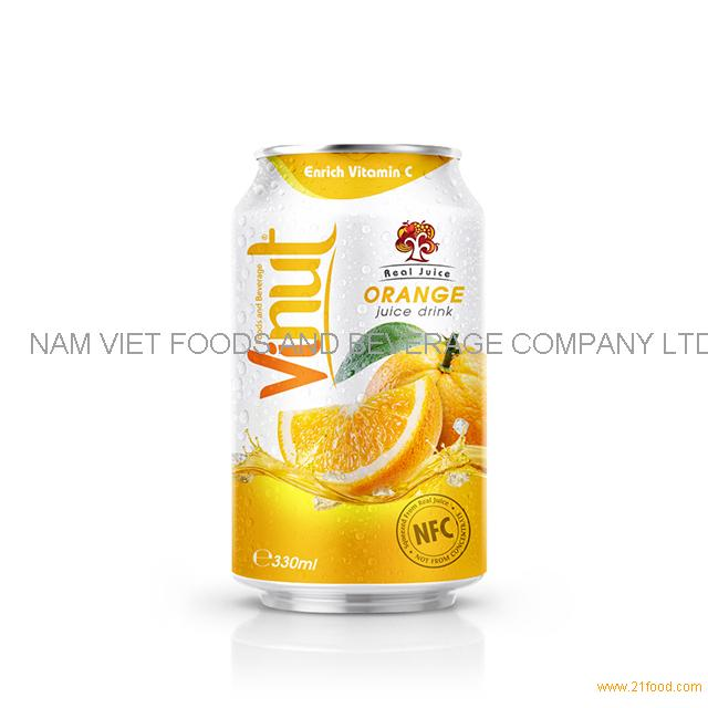 330ml Real Juice Cans Orange Juice Drink