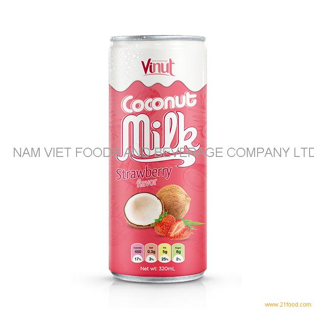 320ml Cans Coconut milk with Strawberry flavor