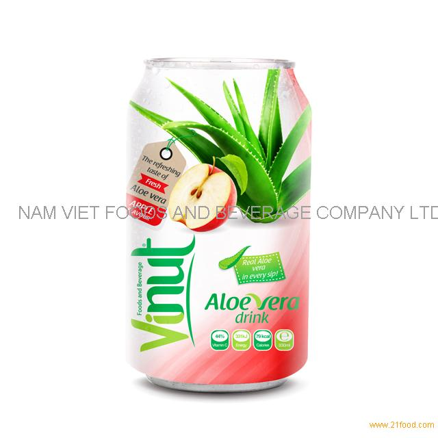 Cans Fresh Aloe vera drink with Apple Juice 330ml (Pack of 24)