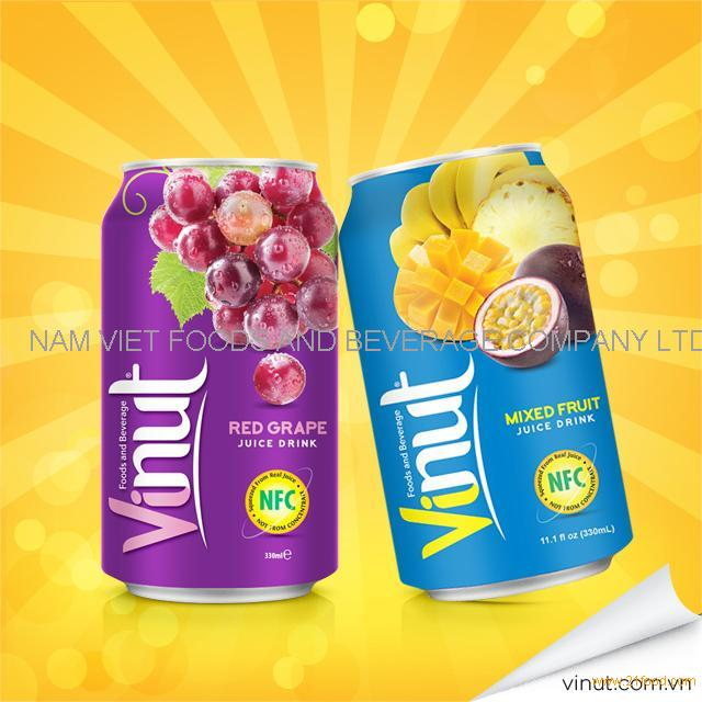 Red Grape Juice 330ml alu can- VietNam Manufacturer-OEM Fruit Juice-From VINUT Brand