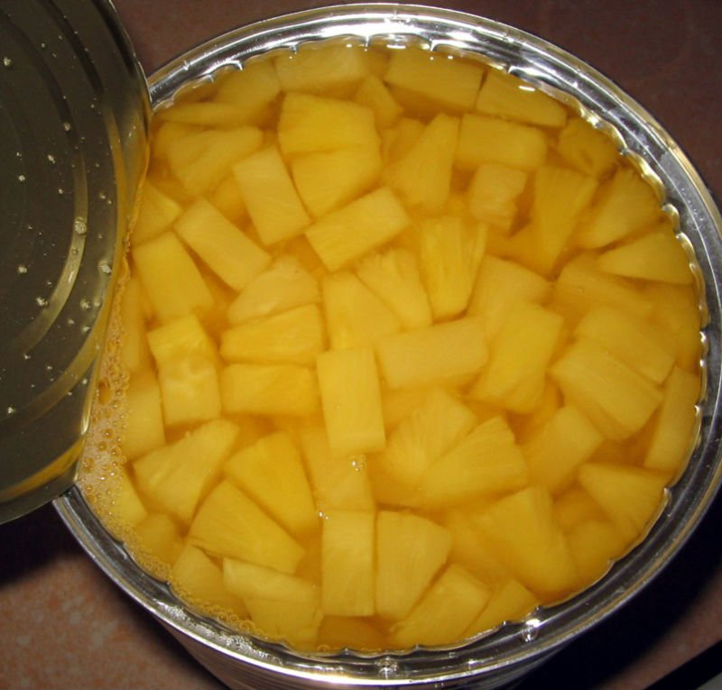 Canned pineapple pizza cut