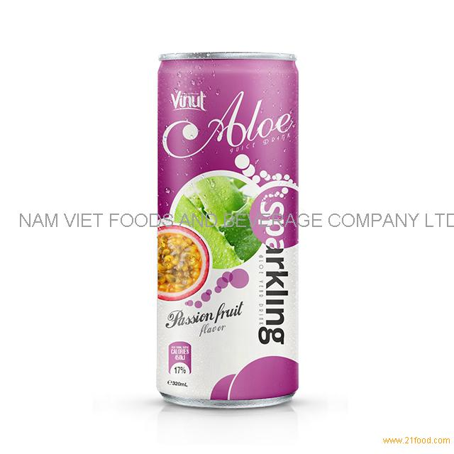 320ml Canned Sparkling Aloe vera drink with Passion fruit flavor
