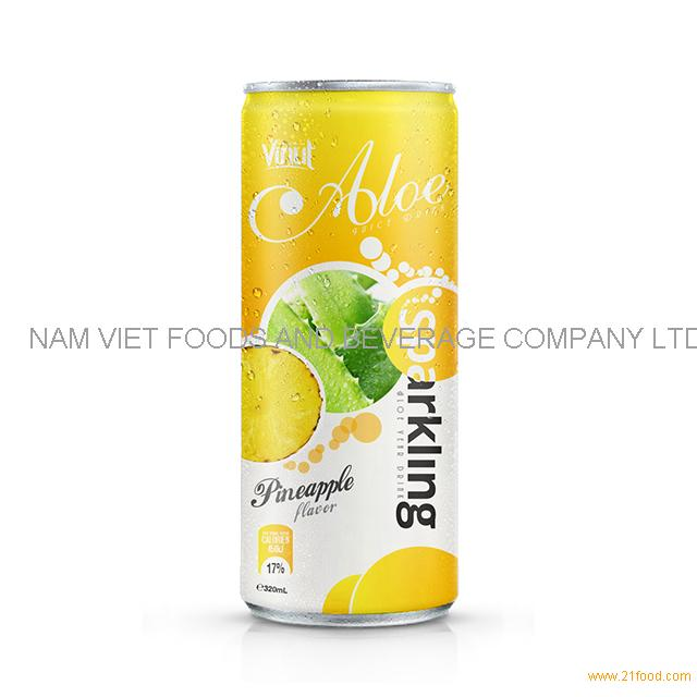320ml Canned Sparkling Aloe vera drink with Pineapple flavor