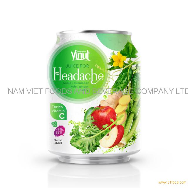 250ml Can 100% Vegetable Juice - Juice for Headache