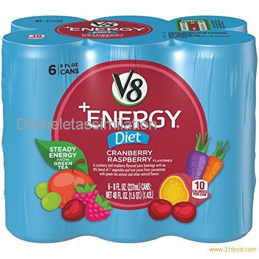 V8 V-Fusion Plus Energy Fruit Juice, Diet Cranberry Raspberry