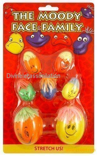 7 Kids Childrens Moody Face Family Stretchy Squashy Stress Balls Party Bag Toys