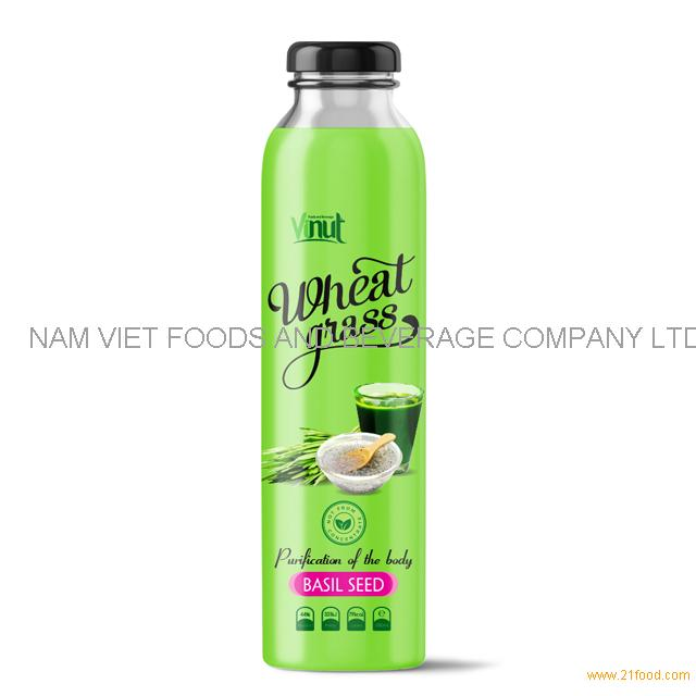 300ml Bottle Wheatgrass juice with Basil seed flavour