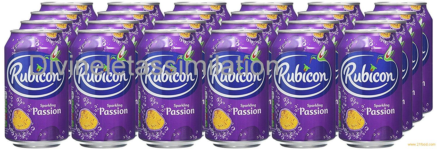 Rubicon Sparkling Passion Fruit Juice Drink Cans, 330 ml, Pack of 24