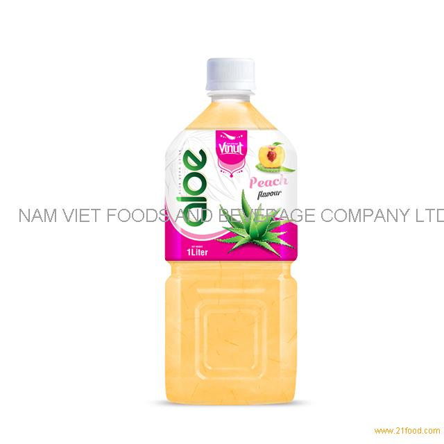 1L Premium Bottle Aloe Vera Drink Peach flavor