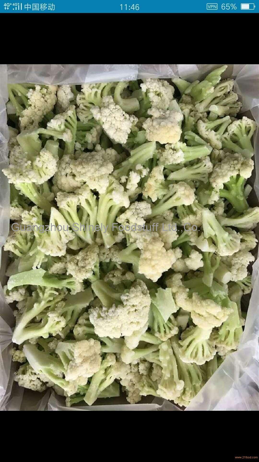 IQF frozen green stem cauliflower florets