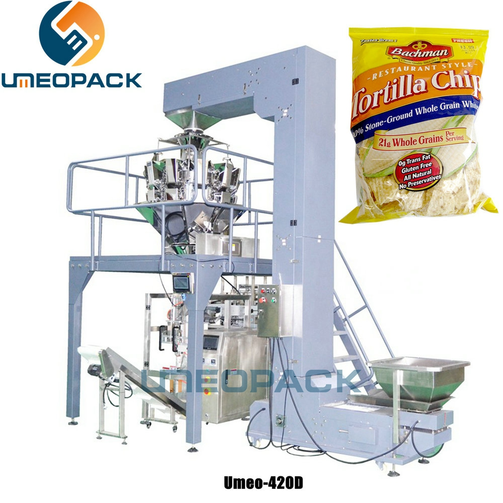 Automatic chips snack weighing and packaging machine