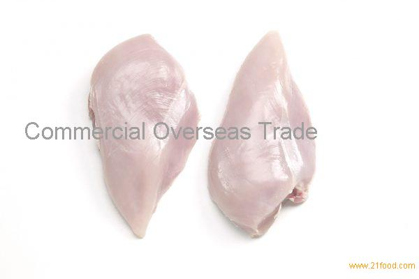 Halal frozen single chicken breast fillet skin off