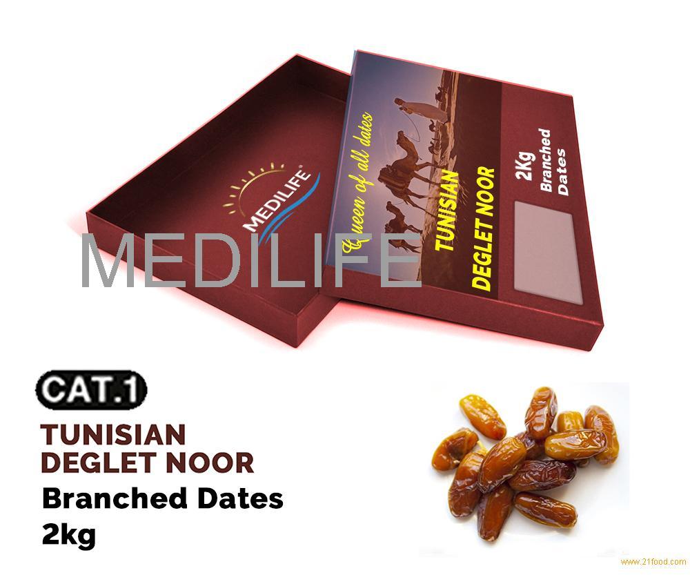 Dates Deglet Noor on Branch 2 kg carton box, Tunisian Dates of New Crop 2018