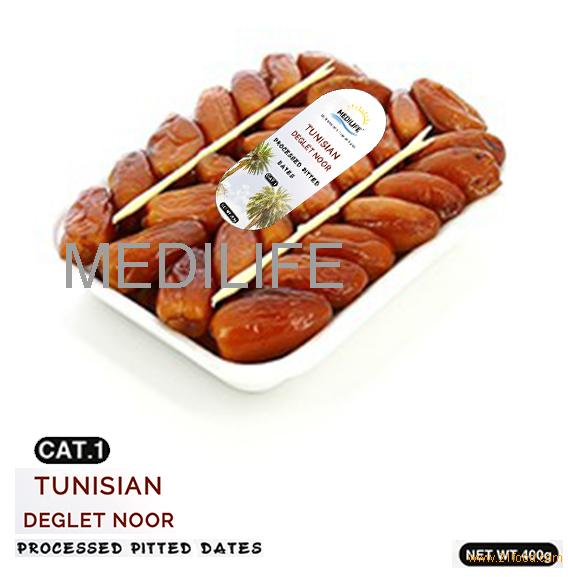 Processed Pitted Dates, Category 1 Dates in Tray 400 gr
