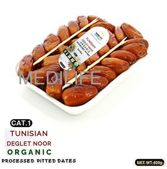 Organic Processed Pitted Dates 400 gr in Tray, New Crop 2018