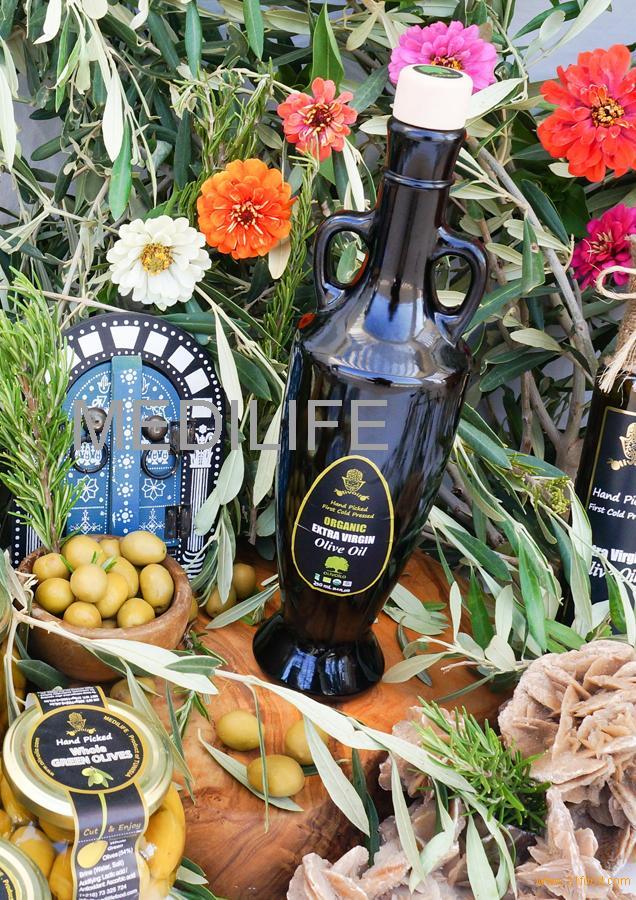 Olive oil made in Tunisia. 100% Organic Extra Virgin Olive Oil. Malchus 500mL Glass Bottle.