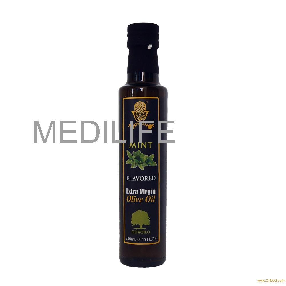 Premium Quality Olive Oil with ISO. 100% Olive Oil with Mint in Glass Bottle 250 ml.