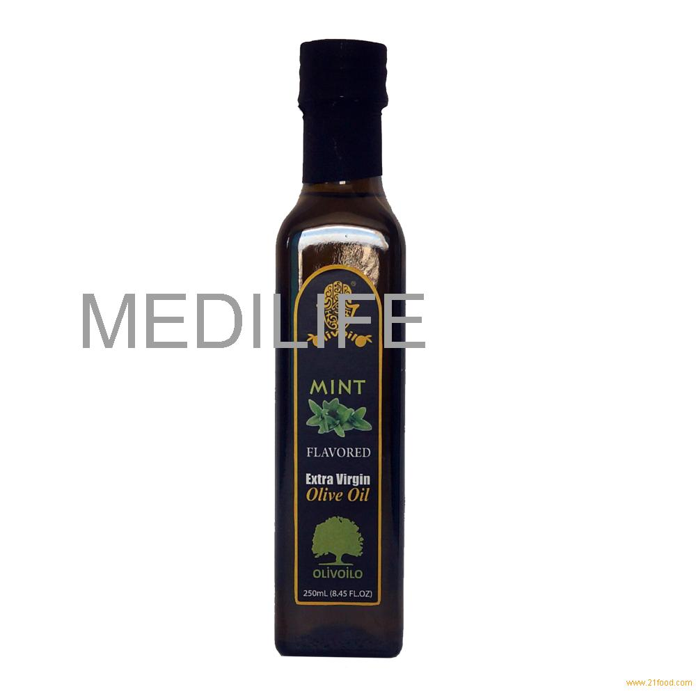 Olive Oil with ISO. 100% Olive Oil with Mint in Glass Bottle 250 ml.