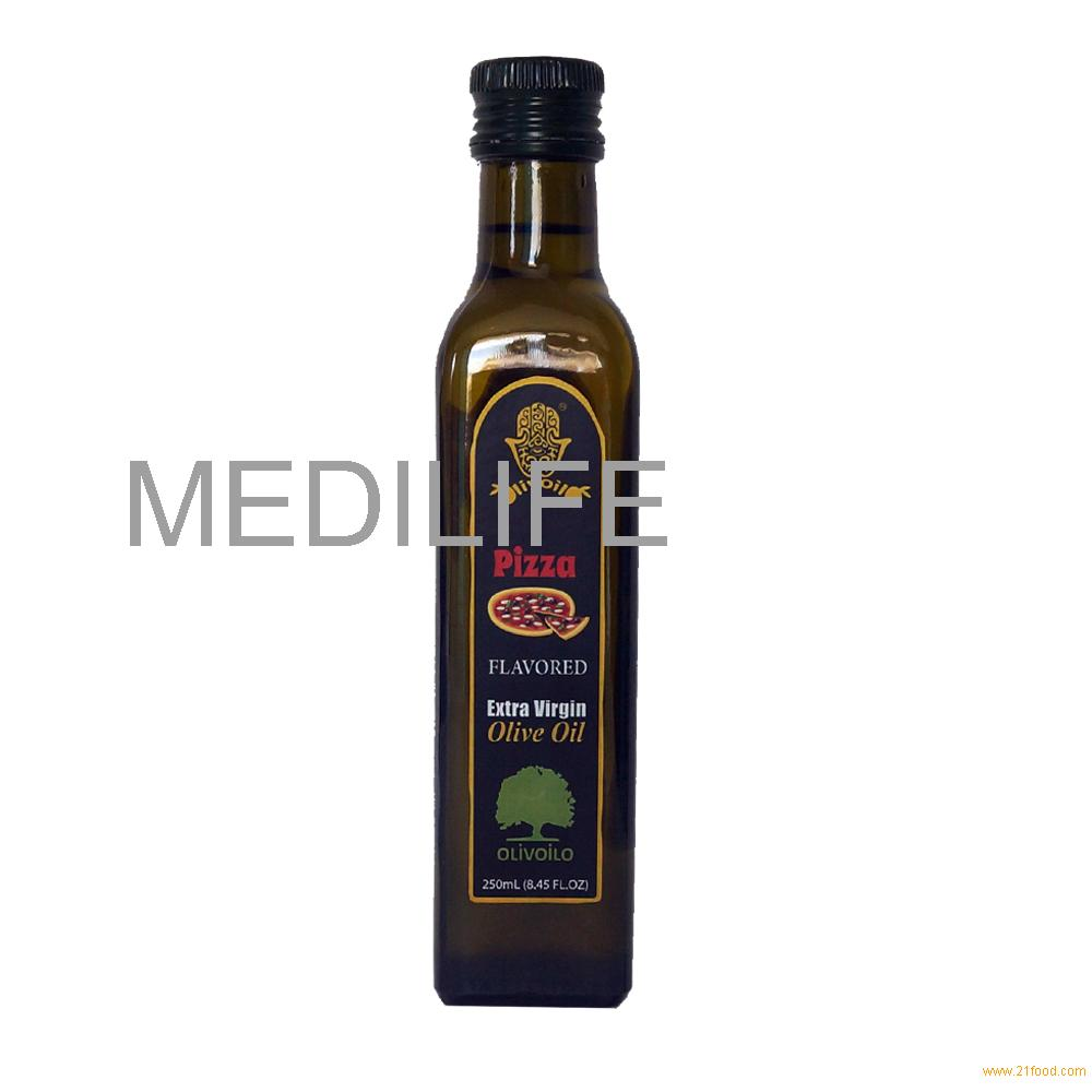 Premium Quality Pizza Flavored Olive Oil. 100% Olive Oil with Kosher in Glass Bottle 250 ml.
