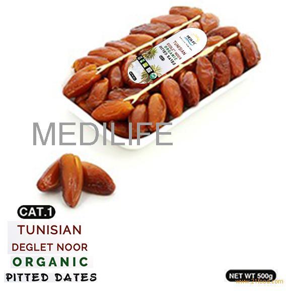 Pitted Organic Dates ,500 gr Tray ;Tunisian Organic Dates