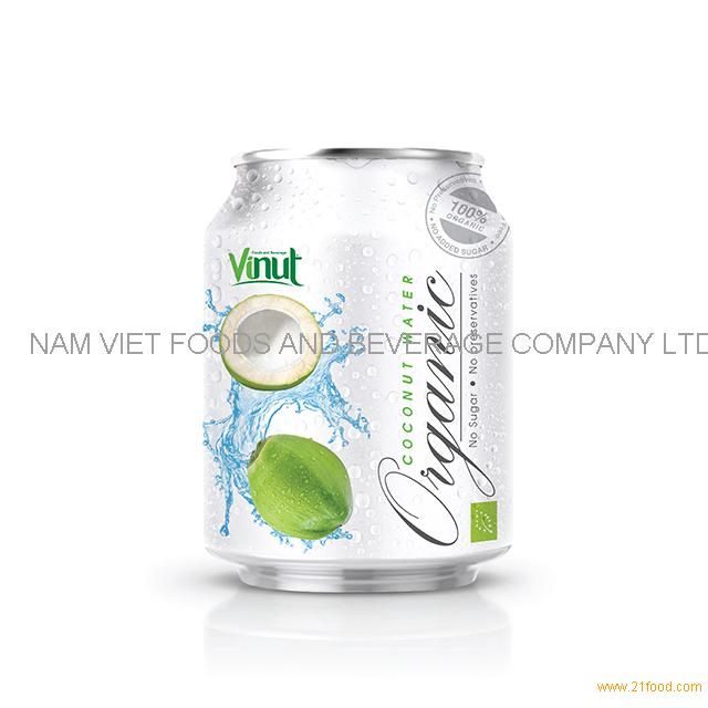 250ml Canned Organic Coconut Water - no Sugar, No preservative ( EU Organic Certification)