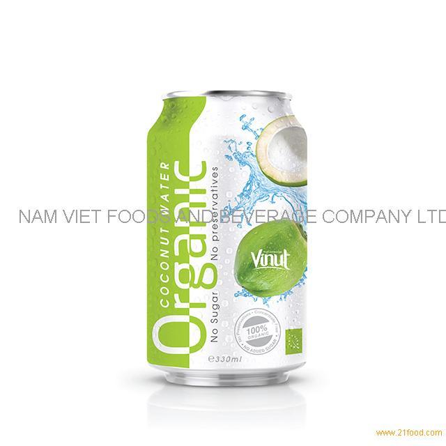 330ml Canned Organic Coconut Water - no Sugar, No preservative ( EU Organic Certification)