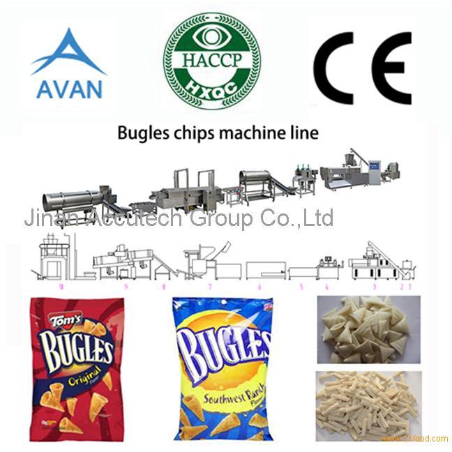 Automatic fried corn bugle snacks production line